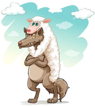 白い背景に怖いオオカミを抱き締める羊  イラスト・ベクター素材