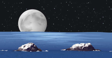 reflectance: Full moon and the ocean