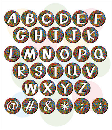 english letters: Buttons with big letters of the alphabet on a white background