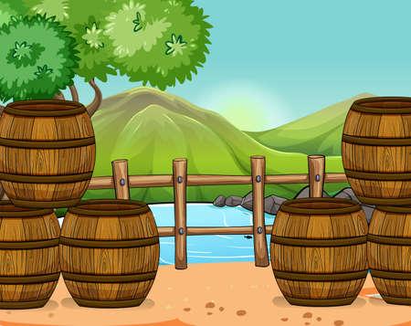 habitats: Wooden barrels at the riverside