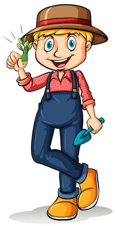 Happy gardener showing his thumb with a plant on a white background Vector