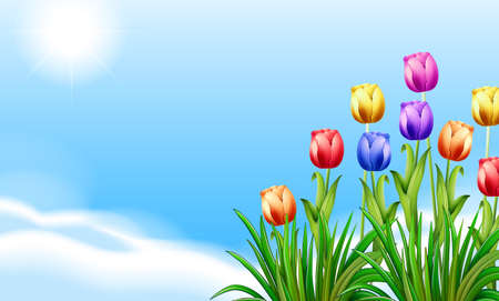 Blooming flowers under the clear blue sky Vector