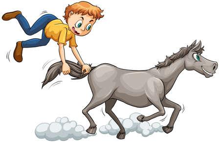 extant: El hombre persigue el caballo que corre sobre un fondo blanco