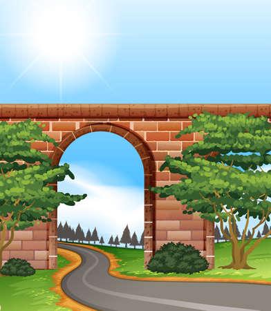 steel bridge: Narrow road under the bright sunlight