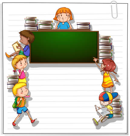 learning series: Frame with many kids and an empty blackboard on a white background