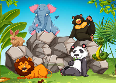 forest clipart: Poster of wild animals sitting together
