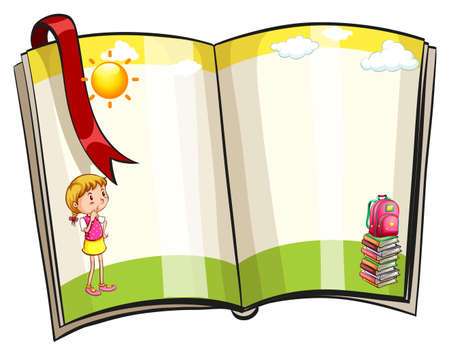 border cartoon: Picture of an open book on a white background Illustration