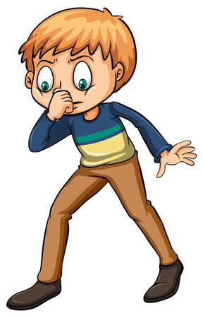 Boy smelling a fishy odor on a white background