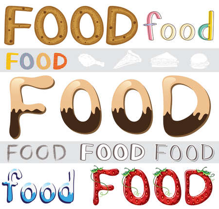 capitalized: Set of the different food artwork on a white background