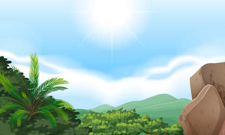 Mountain view scenery with clear sky Vector