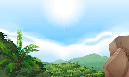 arboles de caricatura: Vistas a la montaña paisaje con cielo despejado Vectores
