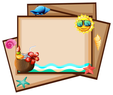 Brown papers with beach theme designs