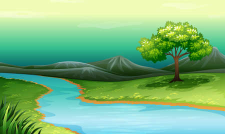 river bank: Scenery of a lake and mountain illustration
