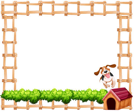 Fence design frame with a dog and kennel