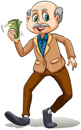 Cartel de un viejo hombre que sostiene dinero Foto de archivo - 38294249