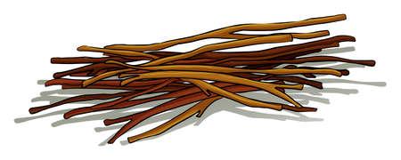 Bouquet de bâtons de bois couché