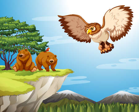 cartoon bear: Two bears and an eagle at mountain cliff