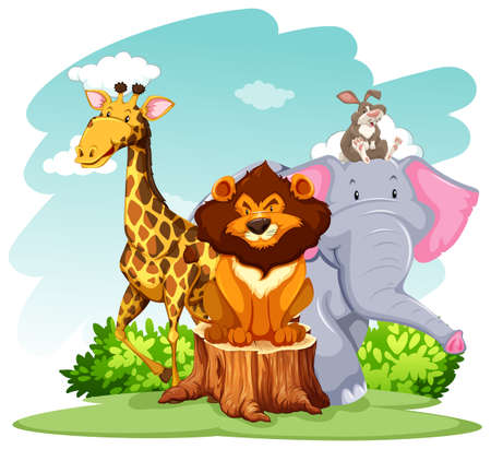 Group of wild animals inthe forest Vector