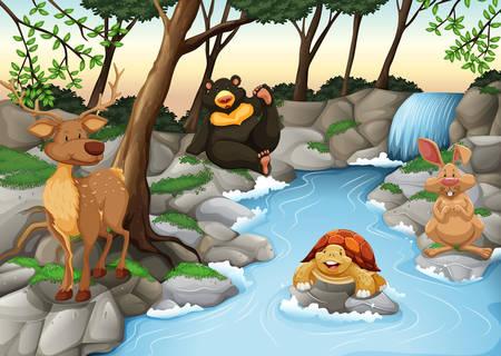 川のほとりでリラックスした動物のグループ  イラスト・ベクター素材