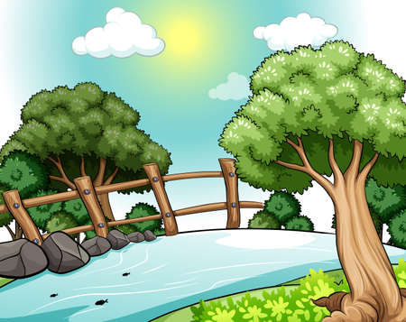 Poster of a river with trees on the bank