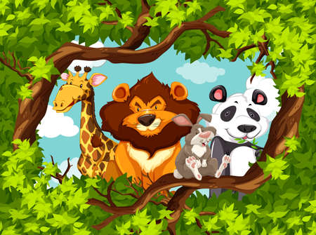 Group of animals in a frame of leaves Vector