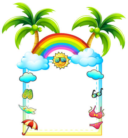 BEach theme frame on white background Vector