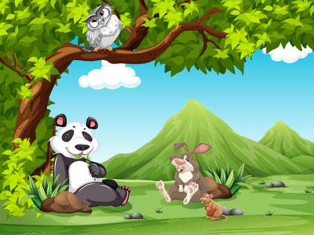 Grupo de animales de relax debajo de un árbol