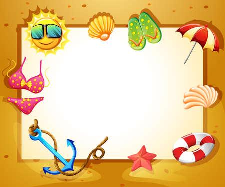 Beach design frame on white background