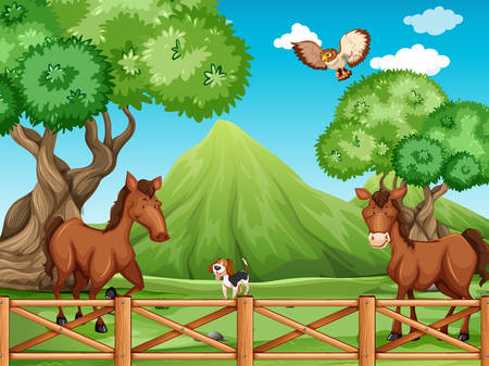 Animals strolling behind the fence Vector