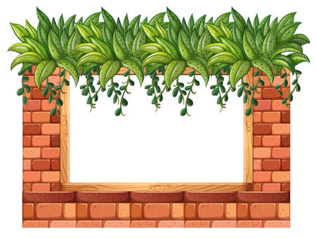 brick earth: Frame of bricks and plants illustration