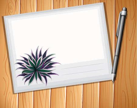envelop: Envelop with a pen on plank background Illustration