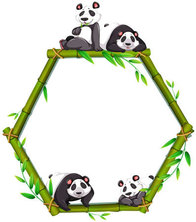 Four panda with pentagon shape bamboo frame Vector