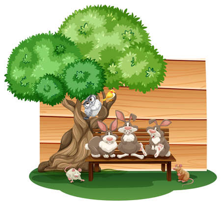 Mix animals sitting under a tree Vector