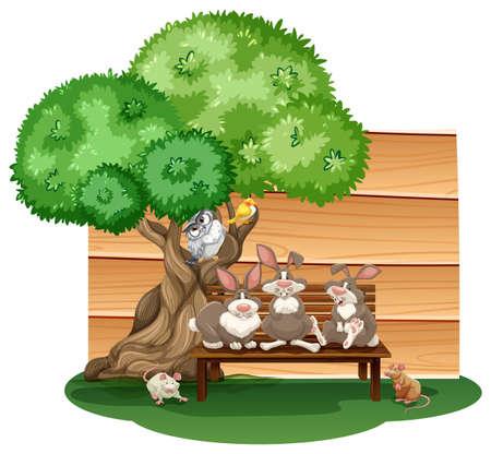 log wall: Mix animals sitting under a tree
