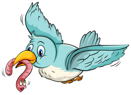 Flying bird with a worm in its mouth Illustration
