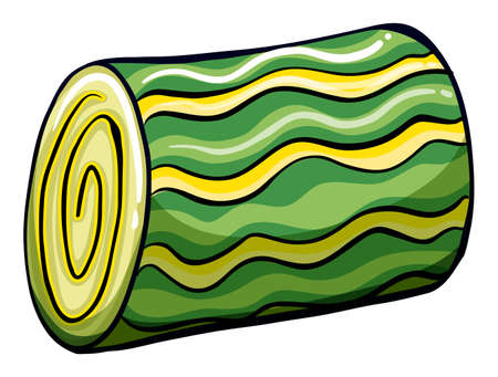 toffee: Colorful roll shaped toffee on white background Illustration