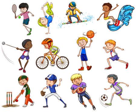 kinds: Set of boys playingdifferent kinds of sports Illustration