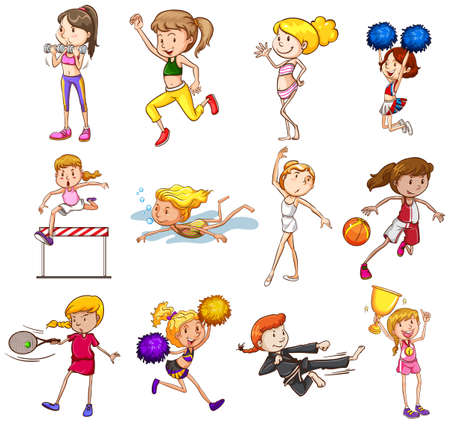 competitions: Set of sports played by female Illustration