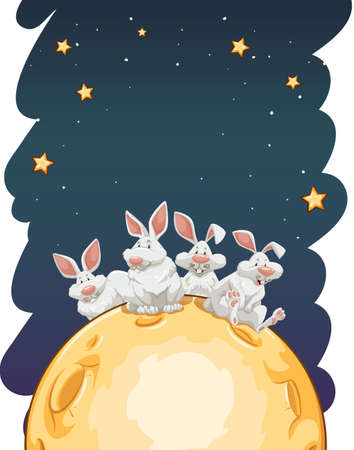glows: Four rabbits sitting on a moon