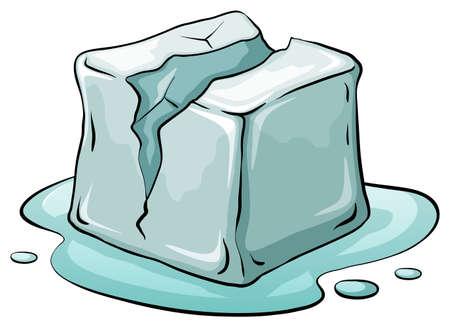 melting ice: Broken ice cube melting illustration