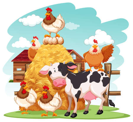 cartoon chicken: Group of domestic animals in a farm Illustration