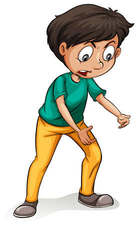hold up: Boy in a posture of holding something