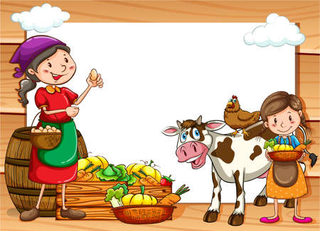 lady cow: Frame of vegetable sellers and market