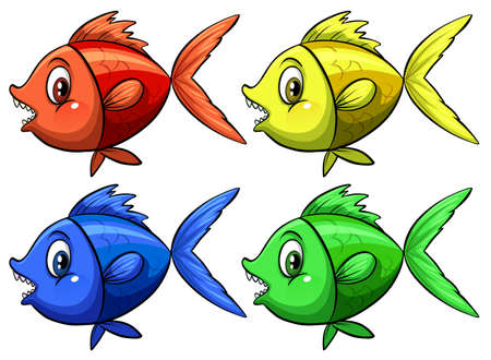 Four colorful fish on white background Vector