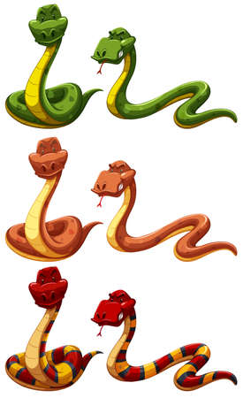 differnt: Set of differnt colors snakes on white background