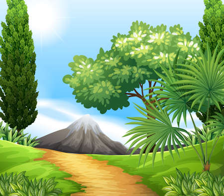 forest clipart: Scenery of nature with trees and mountains