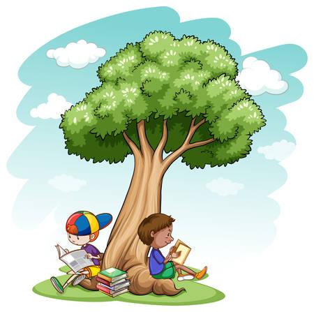 under tree: Two boys sitting under a tree reading Illustration