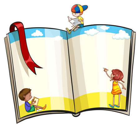 An open book with children designs