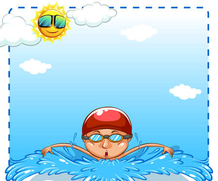 swimming cap: Man swimming under bright sun Illustration