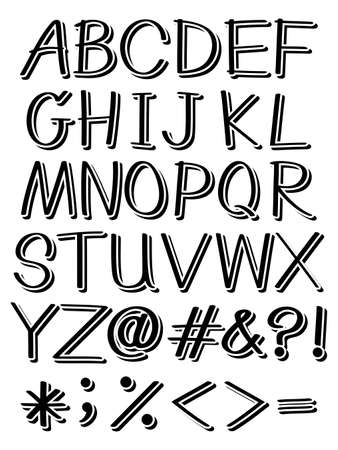 uppercase: Set of uppercase alphabets and symbols in black color Illustration